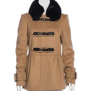 Burberry Wool & Cashmere Fox Fur Collar Coat